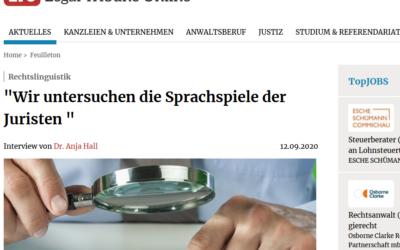 """Interview (LTO): """"Wir untersuchen die Sprachspiele der Juristen"""""""